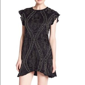 NWT Free People Dress Black w/Metal Sequins Sz XS